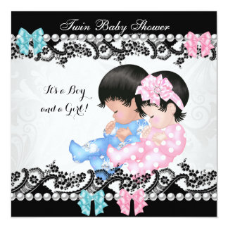 Twin Baby Shower Cute Girl Pink Boy Blue 5.25x5.25 Square Paper Invitation Card