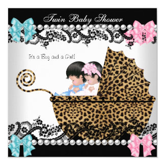 Twin Baby Shower Cute Girl Pink Boy Blue Leopard Card