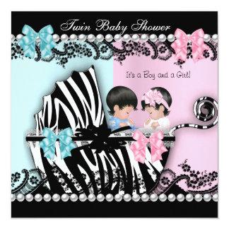 Twin Baby Shower Cute Girl Pink Boy Blue Zebra 2 Card