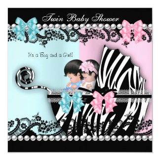 Twin Baby Shower Cute Girl Pink Boy Blue Zebra 3 5.25x5.25 Square Paper Invitation Card