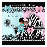 Twin Baby Shower Cute Girl Pink Boy Blue Zebra 4 Card