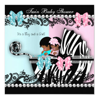 Twin Baby Shower Cute Girl Pink Boy Blue Zebra 4 Card