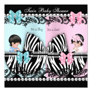 Twin Baby Shower Cute Girl Pink Boy Blue Zebra Card