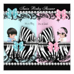 Twin Baby Shower Cute Girl Pink Boy Blue Zebra Announcement