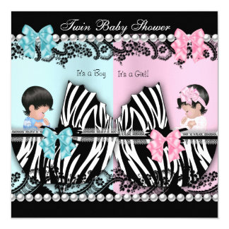 "Twin Baby Shower Cute Girl Pink Boy Blue Zebra 5.25"" Square Invitation Card"