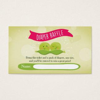 Twin Baby Shower Diaper Raffle Card Peas in a pod