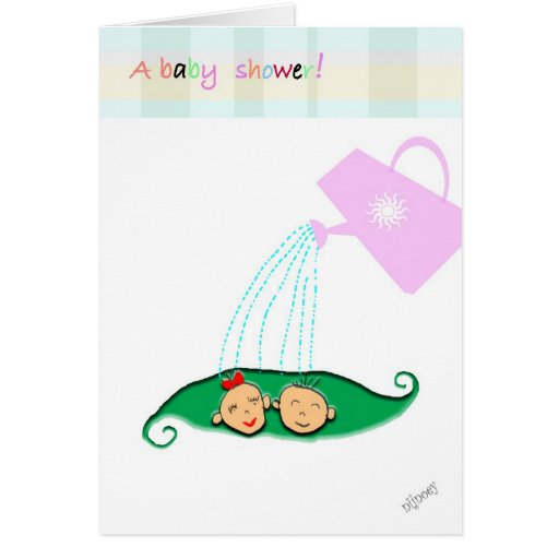 twin baby shower greeting card