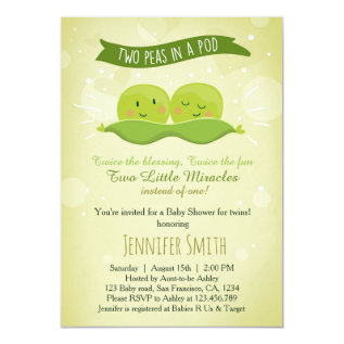 Twin Baby Shower Invitation Two Peas In A Pod at Zazzle