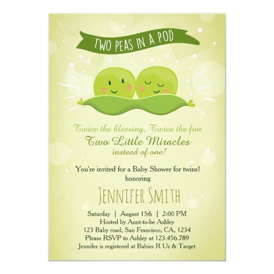 Twin Baby Shower Invitation Two Peas In A Pod Zazzle Com