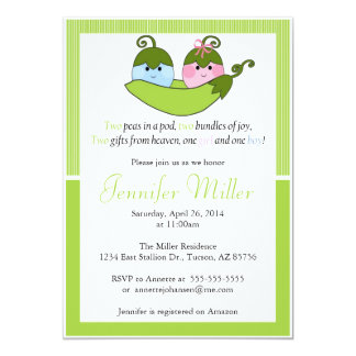 Twin Baby Shower Invitation, Two Peas In A Pod 5x7 Paper Invitation Card