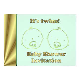 Twin Baby Shower Invitation with baby faces