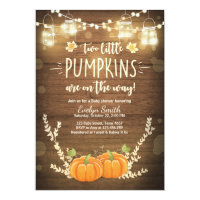 Twin Baby Shower invite Little Pumpkins Fall Twins