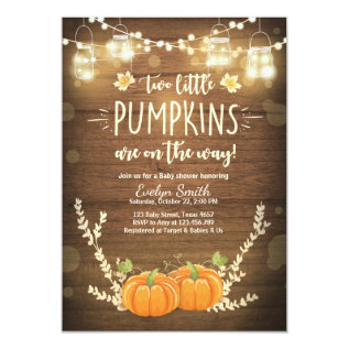 Twin Baby Shower Invite Little Pumpkins Fall Twins at Zazzle