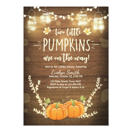 twin baby shower invite little pumpkins fall twins zazzle com