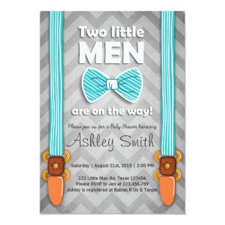 Twin Baby Shower invite Twins Little Men Bow tie