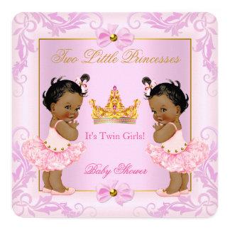 Twin Baby Shower Princess Tiara Girl Pink Ethnic Card