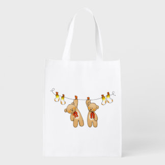 twin baby teddy bear dolls reusable grocery bag