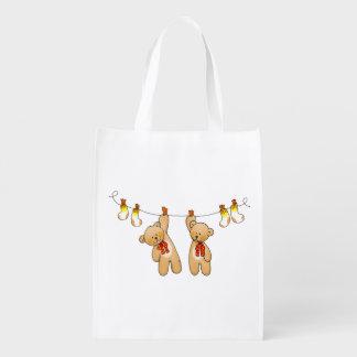 twin baby teddy bear dolls grocery bags