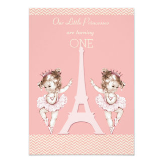 Twin Ballerinas Eiffel Tower Chevrons 1st Birthday 5x7 Paper Invitation Card