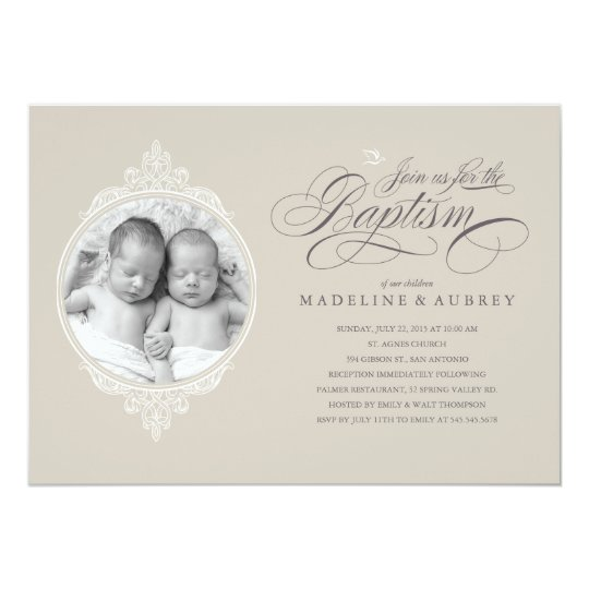 twin baptism photo invitations zazzle com