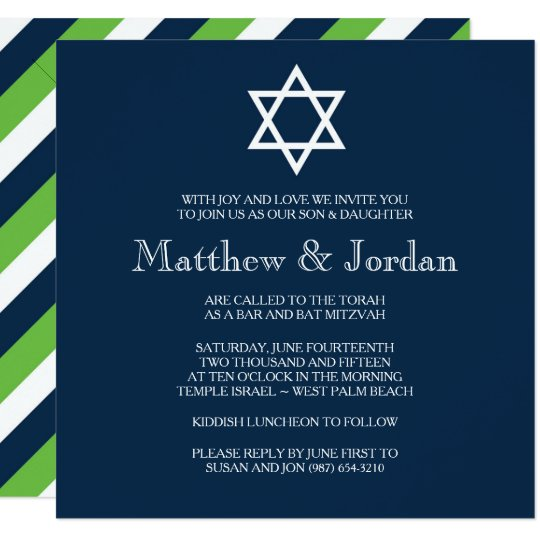 twin bar mitzvah invitation modern zazzle com