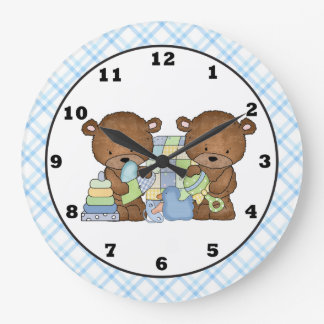 Twin Bears Baby's room wall clock