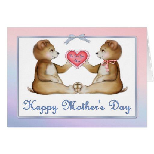 Twin Bears - Boy and Girl on Mother's Day Card