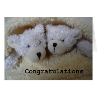 twin bears congratulations greeting card