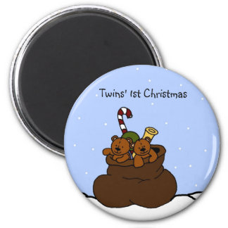 twin bears in santa sack 2 inch round magnet