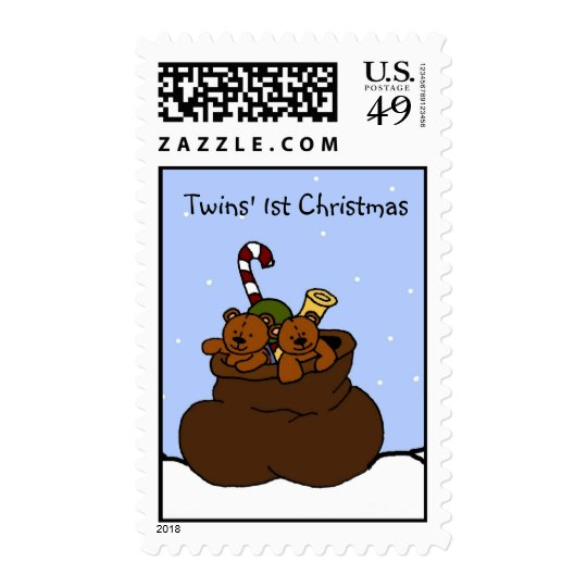 twin bears in santa sack stamp