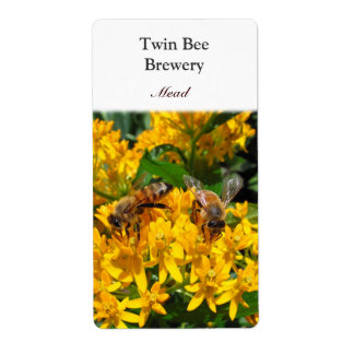 Twin Bees ~ Beer Mead Label Shipping Label