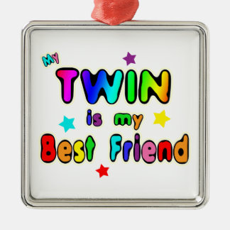 Twin Best Friend Square Metal Christmas Ornament