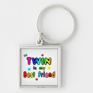 Twin Best Friend Silver-Colored Square Keychain