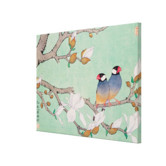 Twin Birds in the Branches Cancas Stretched Canvas Print