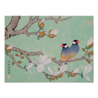 Twin Birds in the Branches Poster