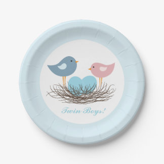 Twin Bird's Nest   Baby Shower Paper Plate