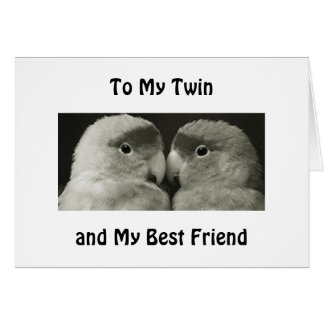 "TWIN BIRDS SAY HAPPY BIRTHDAY TO MY ""TWIN"" CARD"