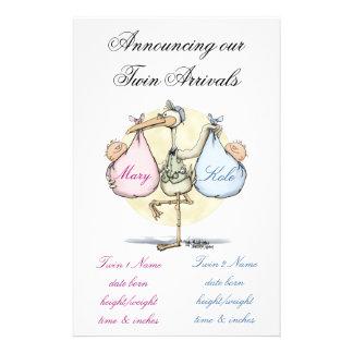 Twin Birth Announcement - Girl & Boy Stationery
