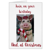 ***TWIN BIRTHDAY** AT ***CHRISTMAS*** CARD