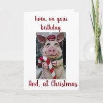 ***TWIN BIRTHDAY** AT ***CHRISTMAS*** HOLIDAY CARD