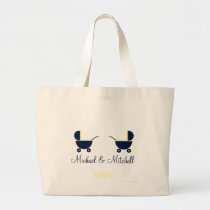 """Twin Blue Baby Carriages"" - w/ Names [a] Large Tote Bag"