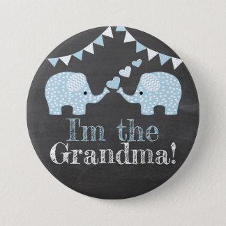 Twin Blue Boy Elephants |  I'm The Grandma Pinback Button
