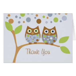 Twin Blue Owls Thank You Note Card