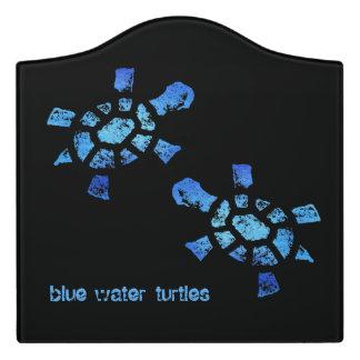 Twin Blue Water Turtles Door Sign