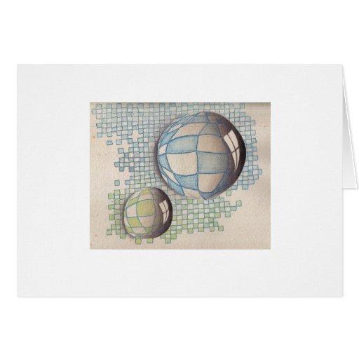 Twin BlueGreen Bubbles Card