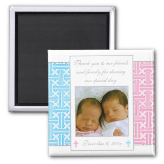 Twin Boy and Girl Baptism Favor - Photo Magnet