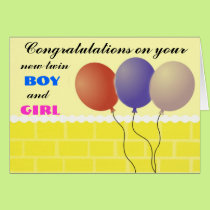 Twin boy and girl Card