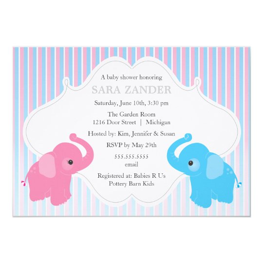 Twin Boy And Girl Elephant Baby Shower Invitation