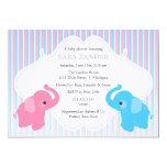 "Twin Boy and Girl Elephant  Baby Shower Invitation 5"" X 7"" Invitation Card"