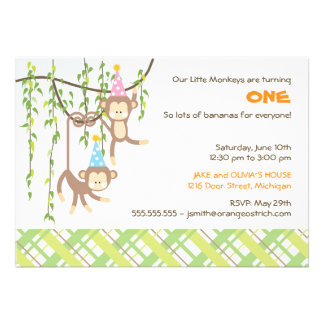 Twin Boy and Girl First Birthday Invitation